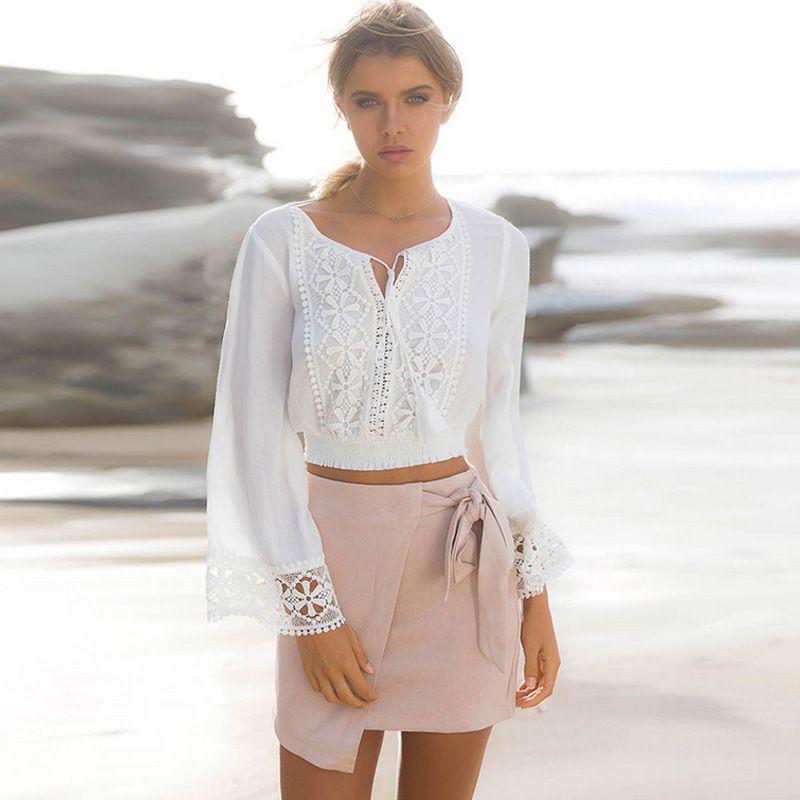 Frauen Boho Langarm Blumenspitze Weiß Tops Blusen aushöhlen Strand Elegantes Hemd harajuku femme Kleidung Sommer Party Tops