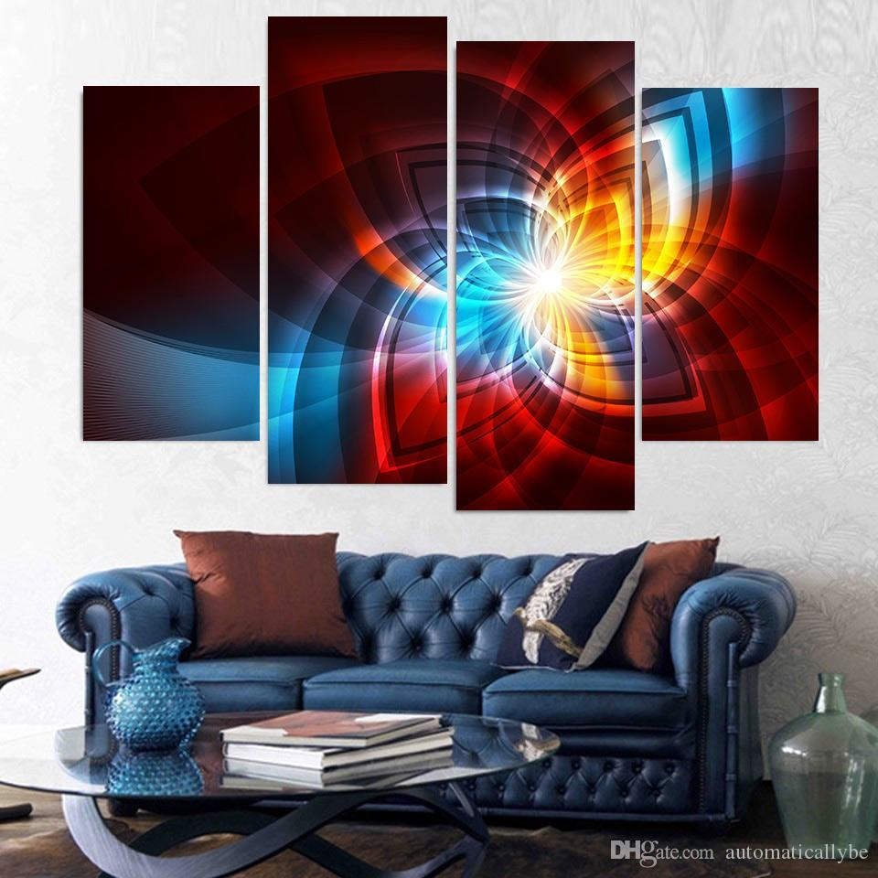 Printed Modern Canvas Painting Wall Artwork Modular Poster 4 Panel Fractal Glow Lines HD Framework Pictures Home Decor Living Room