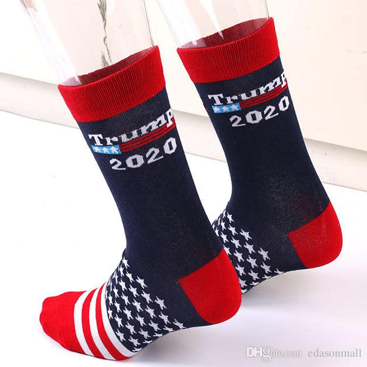 3 Styles New Donald Trump Stripe Socks President Campaign 2020 Make American Great USA Flag Cotton Letter Socks Funny Middle Stockings N85Y