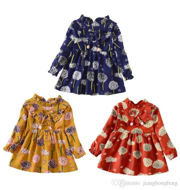 Criança Do Bebê Meninas Vestido de Manga Longa Flor Floral Imprimir Vestido de menina traje de roupas infantis para meninas Crianças vestidos