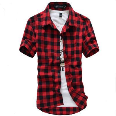 2019 neue frühling rot und schwarz kariertes hemd männer shirts 2019 neue sommermode chemise homme herren karierte shirts kurzarm shirt