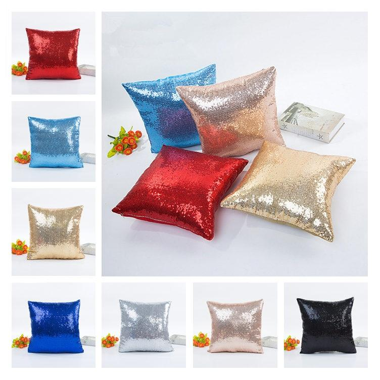 18colors blank Sequin Marmymer pillowslip double Color for Home Sofa Sequins وسادة Decorative Pillage Cover 30pcs T1I1824