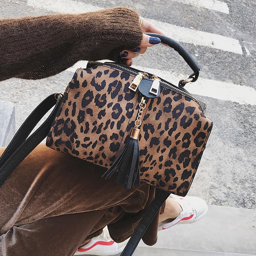 Luxury Leopard Women Handbag Tassel Zipper Women Messenger Bag Fashion Leopard Print Females Handbags Small Girls Crossbody Bags Y19061903