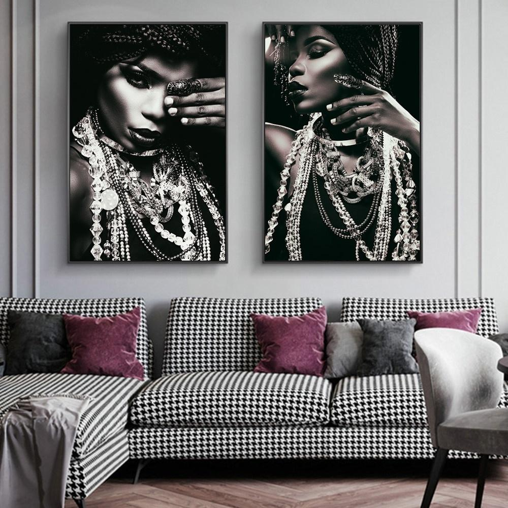 Gioielli donna africana ritratti a olio astratta di arte della parete Canvas Poster e Quadri Stampe parete camera da letto casa Arredamento