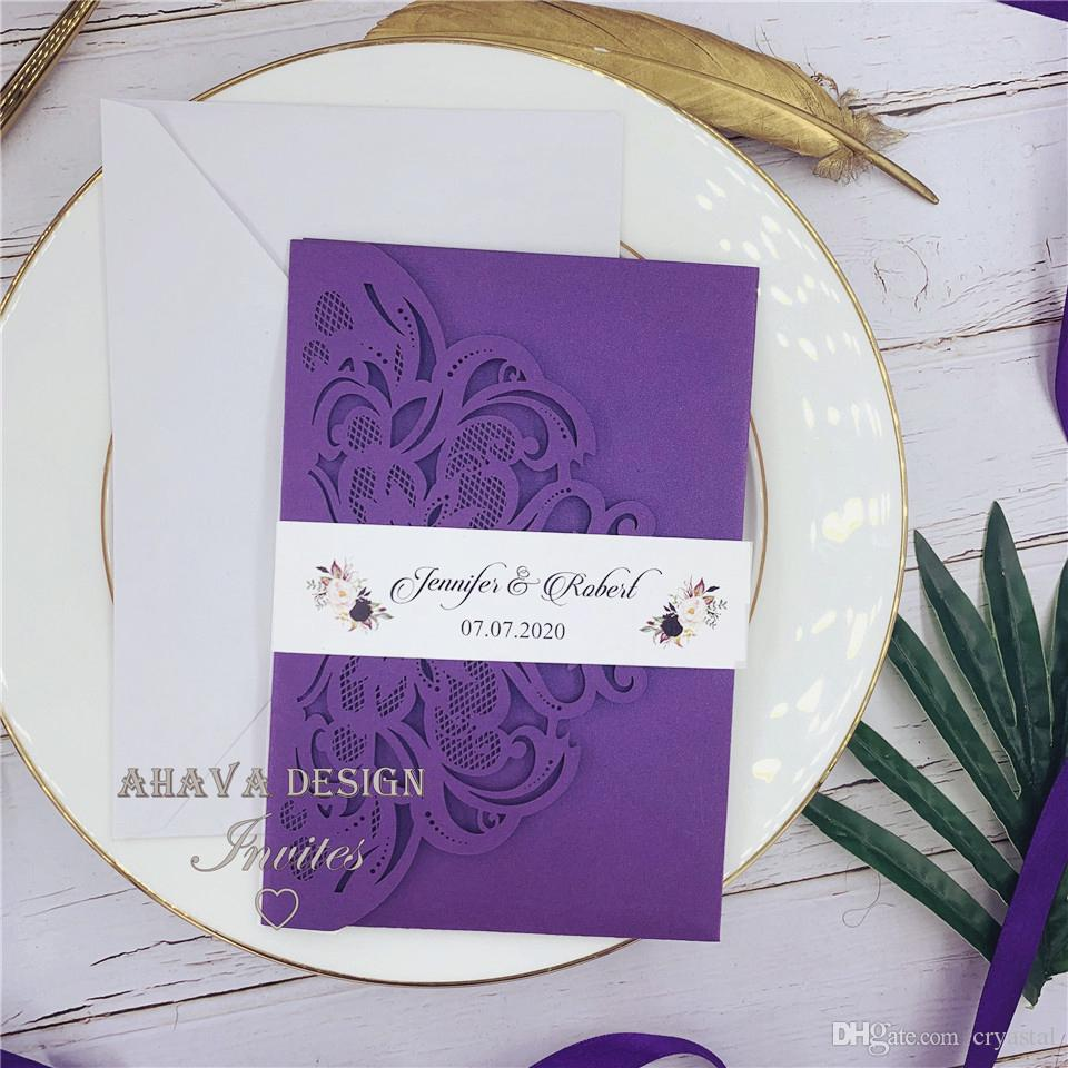 Affordable Romantic Purple Laser Cut Lace Wedding Invitation, Flowers  Elegant Party Invites, Customized Insert With Envelope Email Wedding  Invitations Embossed Wedding Invitations From Cryastal, $1.41| DHgate.Com