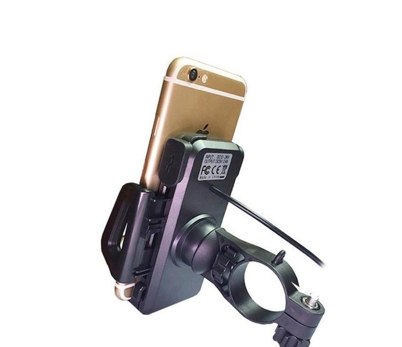 Generic 2 em 1 impermeável motocicleta de telefone celular montar titular com USB Interruptor de carregador de energia 3.3ft cabo de alimentação