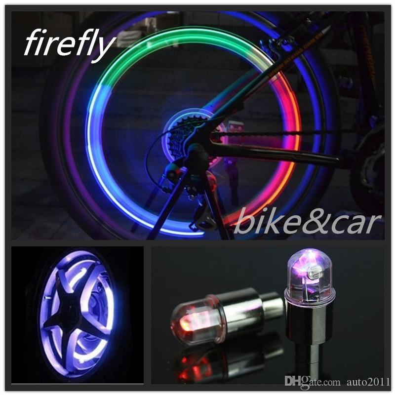 Sensazioni di luce e shock Firefly Lampade Auto-induzione Flash Ruota per pneumatici Valvole per lampade a LED per auto Motocicletta per bici Lampadari per luci di pneumatici