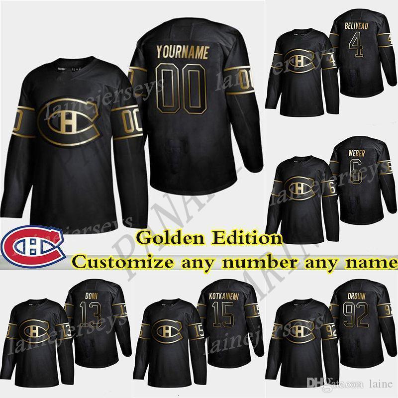 Montréal Canadiens de Ouro Edition 6 Shea Weber 31 Carey Price 11 Gallagher 13 Max Domi personalizar qualquer número de qualquer jerseys nome de hóquei
