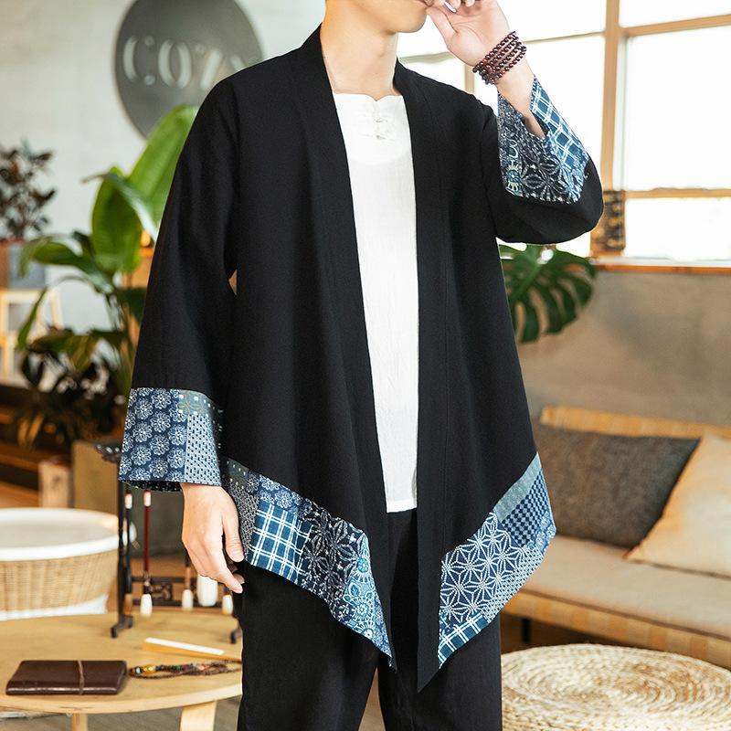 # 3920 Black Kimono Jacket Men Floral Printed Kimono Coat Plus Size 5XL Asymmetrical Capes Long Cotton Linen Vintage Coat