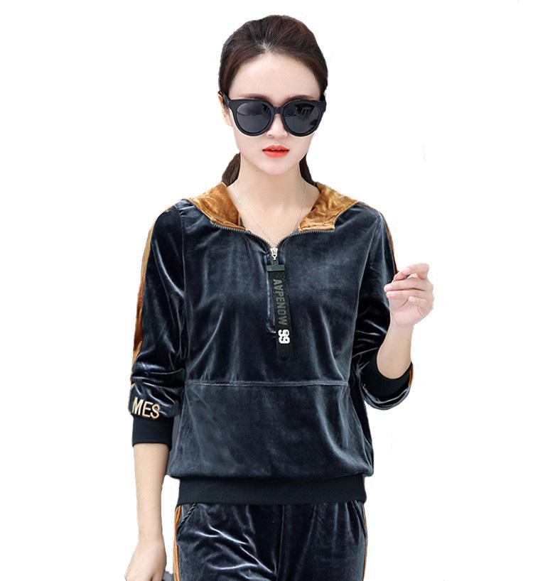 Velours-Trainingsanzug für Frauen Winter Samt Sweatsuit langärmelige Fleece-Kleidung Sets Sportbekleidung für weibliche zweiteilige Outfit