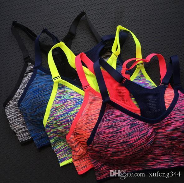 Sexy Donne Yoga Gilet Shakeproof Running Sport Bras Imbottito Yoga Bra Tops Senza soluzione di continuità Biancheria intima per il fitness Lady Crop Tops