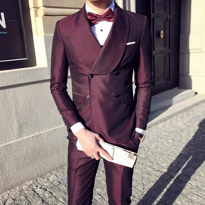 Large Lapel Double Breasted Suit Three Piece Mens Wedding Suits Burgundy Navy Blue Prom Dinner Suit Smoking Homme Mariage Q533