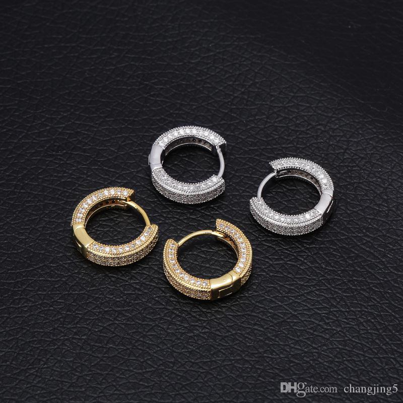 Pendientes de aro completo BlingBling Diamond Pendientes hombres y mujeres de Hip Hop del perno prisionero