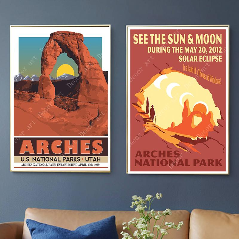 2020 America Arches National Park Travel Canvas Painting Vintage Wall Kraft Posters Coated Wall Stickers Home Decor Pictures Gift From Candide 2 69 Dhgate Com
