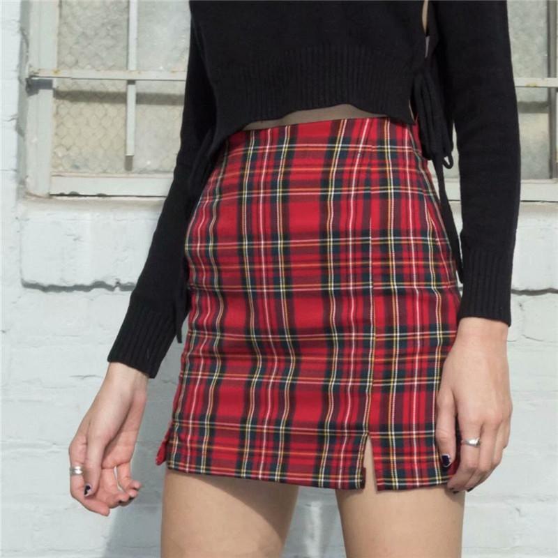 College-Art-Frauen beiläufigen Weinlese-Rock-rote karierte dünne hohe Taille Reißverschluss Paket-Hüfte-Mode-Damen-Minibleistiftröcke Outfit Faldas Mujer