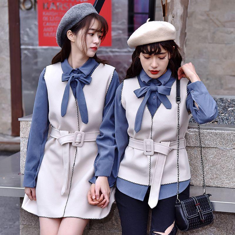 Femmes Printemps Deux Pièce Ensemble À Manches Longues Col Turn-down Arc Chemise Top Et Ceintures En Laine Gilet Solide Blouses Lolita Filles 2 Pcs Costume
