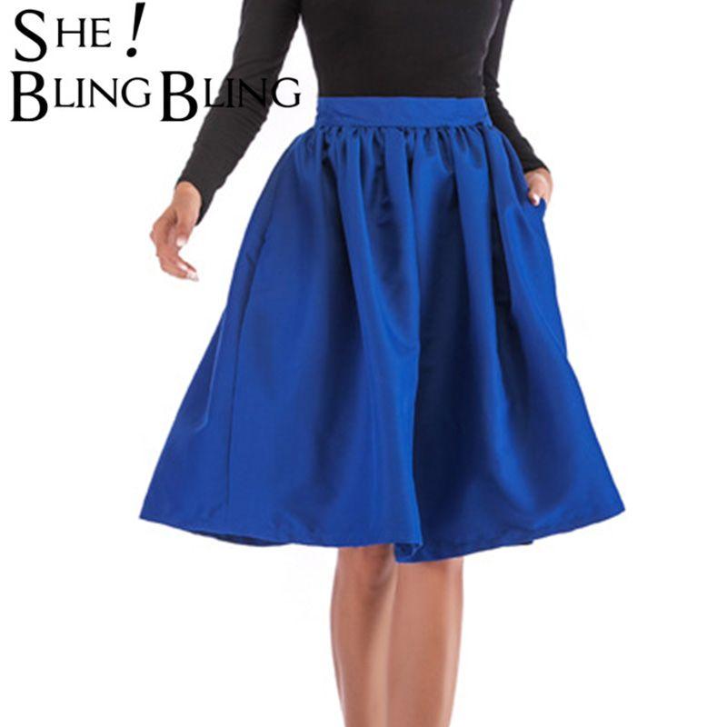 vente en gros femmes printemps été double poches et pli midi taille haute longueur genou multicolore casual jupes patineur