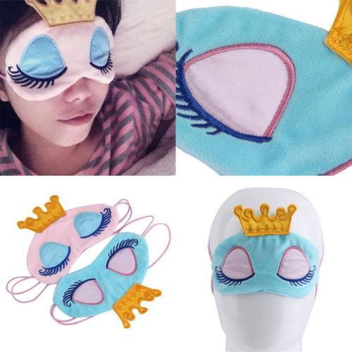 Super Cute máscara de ojos Joli suave sueño dormir de la cortina cubierta cómodo de dibujos animados corona Máscaras viaje del sueño con los ojos vendados Noche