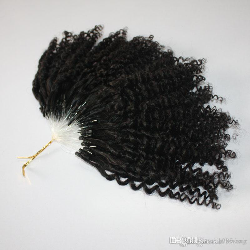 CE certificated kinky Jerry Curly Micro Ring Hair Extensions 400s/lot Kinky Curly Loop Hair RED 99J Yellow Natural Color Loop Hair