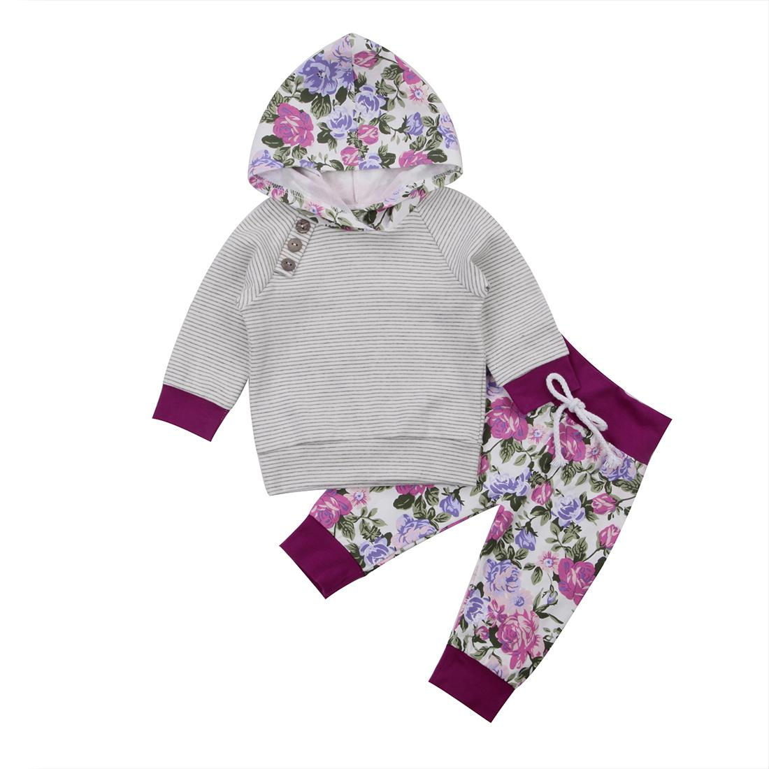 Floral Button Baby Clothing Newborn Kids Outfit Baby Boy Girl Clothes Hoodie T-shirt Tops+Pants Gift Sets Y190515