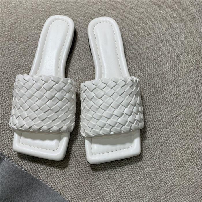 principios de la primavera tejer zapatillas delgadas cheque manera y las sandalias de la superficie de piel de oveja tejida con suela de cuero zapatillas, con el empaquetado completa