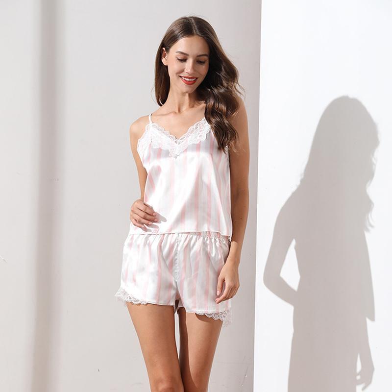 Sin mangas de la ropa interior de los pantalones cortos VZFF atractivo del verano de rayas cordón de las mujeres pijamas de satén Establece M L XL Fairy ropa de dormir Establece CALIENTE