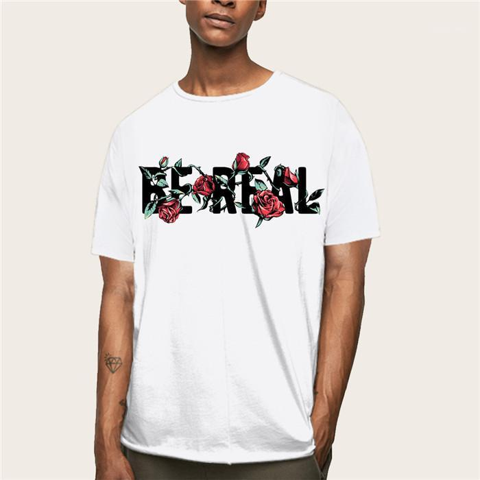 Mens Crew Neck Short Sleeve Loose Tees Males Fashion Casual Tops Teenagers Rose Print Tshirts Summer Designer