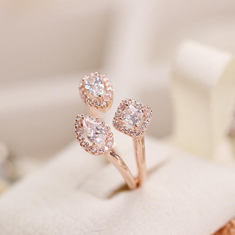 Ringe 925 Sterling Silber funkelnde Roségold Klee CZ Ring Ringe für Frauen-Schmucksachen