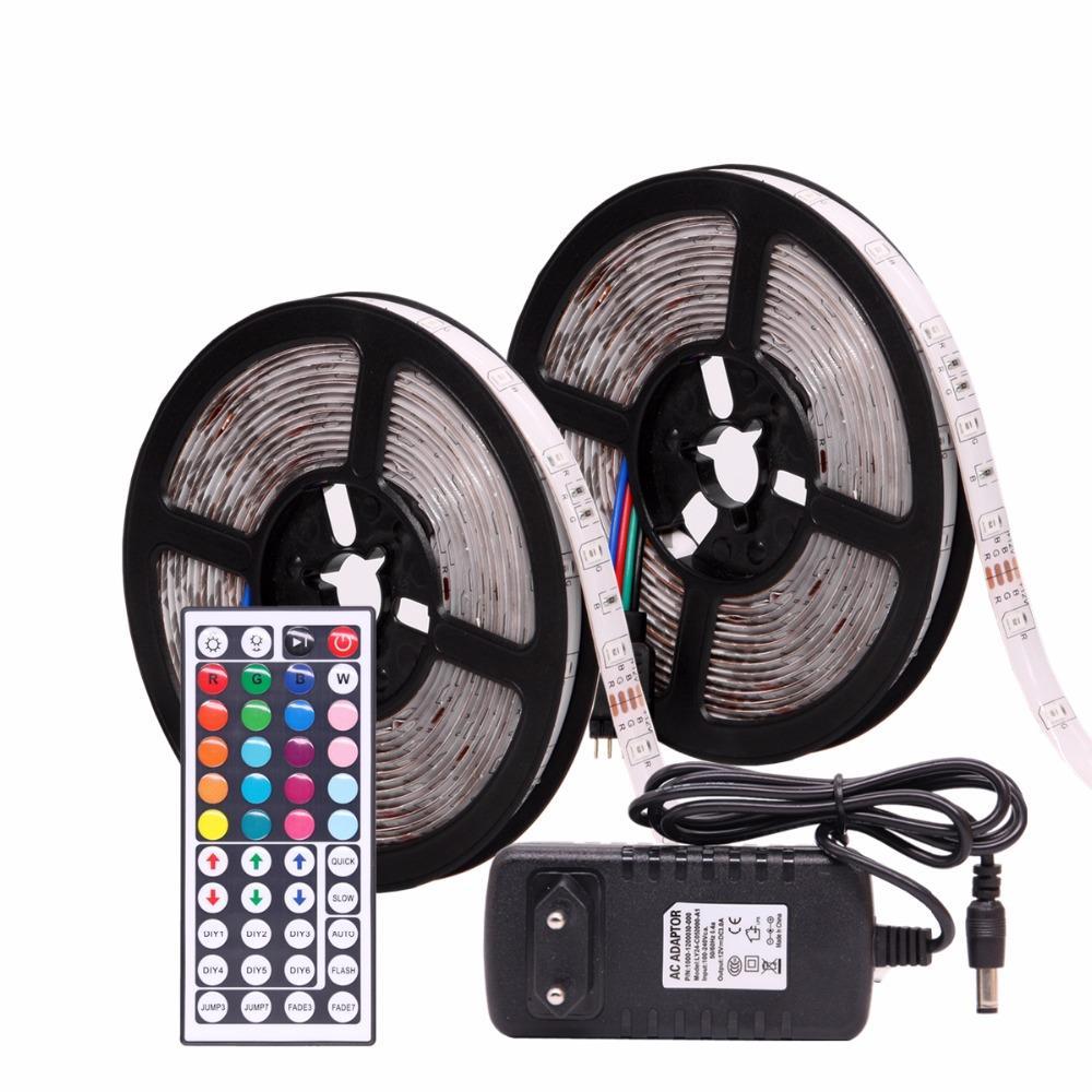 RGB LED bande étanche 2835 5 M 10M DC12V Fita LED bande néon LED 12V flexible bande Ledstrip avec le contrôleur et l'adaptateur