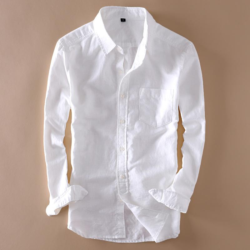 Хлопок Мужская льняная белая рубашка с длинным рукавом с отложным воротником Мужские рубашки Топы Лето 2019 Элегантная твердая уличная одежда Мужская одежда