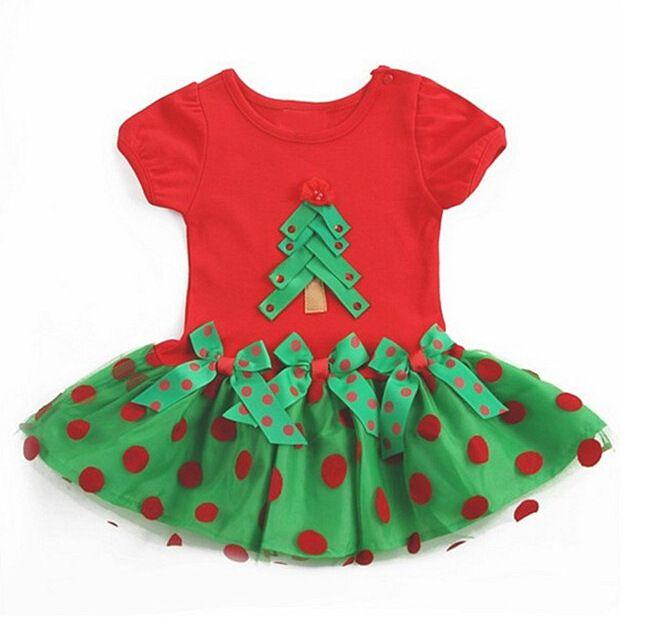 Xmas Tutu Dress Children Kids Christmas Tree Cotton Dot Casual O- Neck Tshirt Dresses Baby Girls Summer Clothes