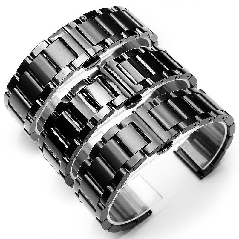 Solid 304L Stainless Steel Bracelets Silver Metal Watch Band Bracelet Wrist Watches Bracelet 18mm 20mm 21mm 22mm 23mm 24mm