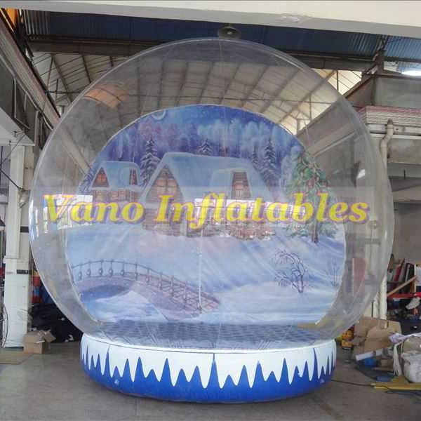 Özel Arkaplan Ücretsiz Pompası Ücretsiz Kargo ile Küre Gösterilen Noel Kar Topu 4m Yüksek Temizle Noel Şişme