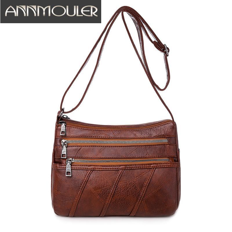 Annmouler Spalla Moda Borsa per le donne in pelle dell'unità di elaborazione a tracolla morbida Messenger per Ragazze femminile piccola borsa Sac a Mai