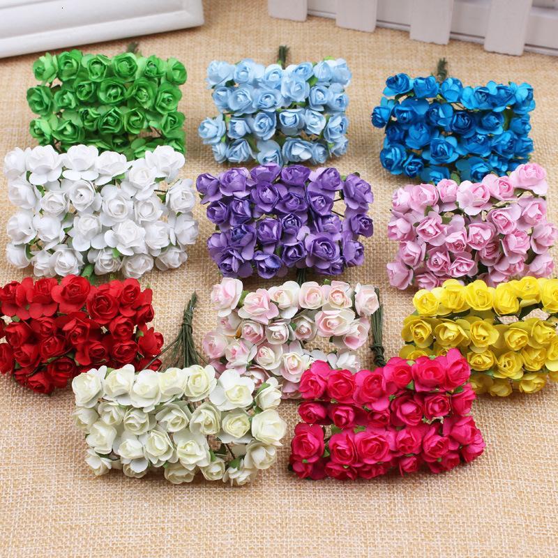 144 pc Mini Foam Rosa Fiori Artificiali Per la casa di nozze fai da te decorazione dell'automobile Pompon Corona fiore decorativo nuziale falsificazione fiore T191029