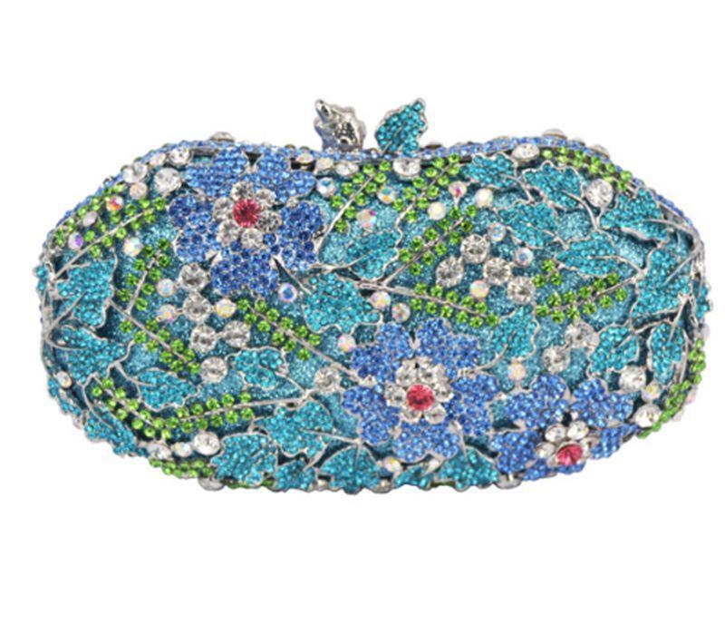 Dgrain Frauen Multi-Blume aushöhlen Kristallabend Metall Kupplungen Abendtasche Hochzeit Handtaschen Geldbeutel-Dame-Diamant-Strass Clutch