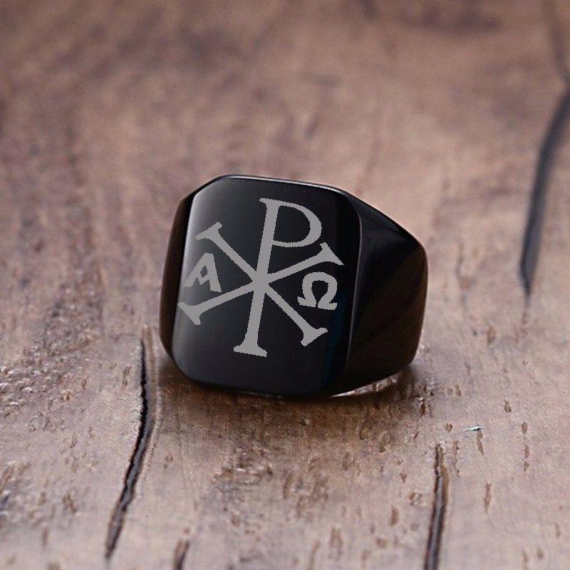 18mm Vnox láser libre grueso anillo de sello para el sello Hombres Chi Rho Alfa Símbolo de acero inoxidable Anillo punk joyería masculina