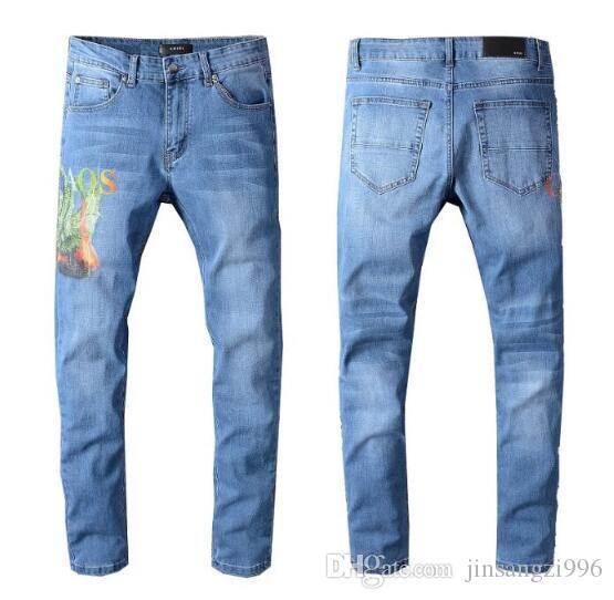 TOP Mens Skinny jeans for men ripped holes jeans Motorcycle Biker Denim pants Men fashion Designer Hip Hop Mens Jeans Long Trousers 3320