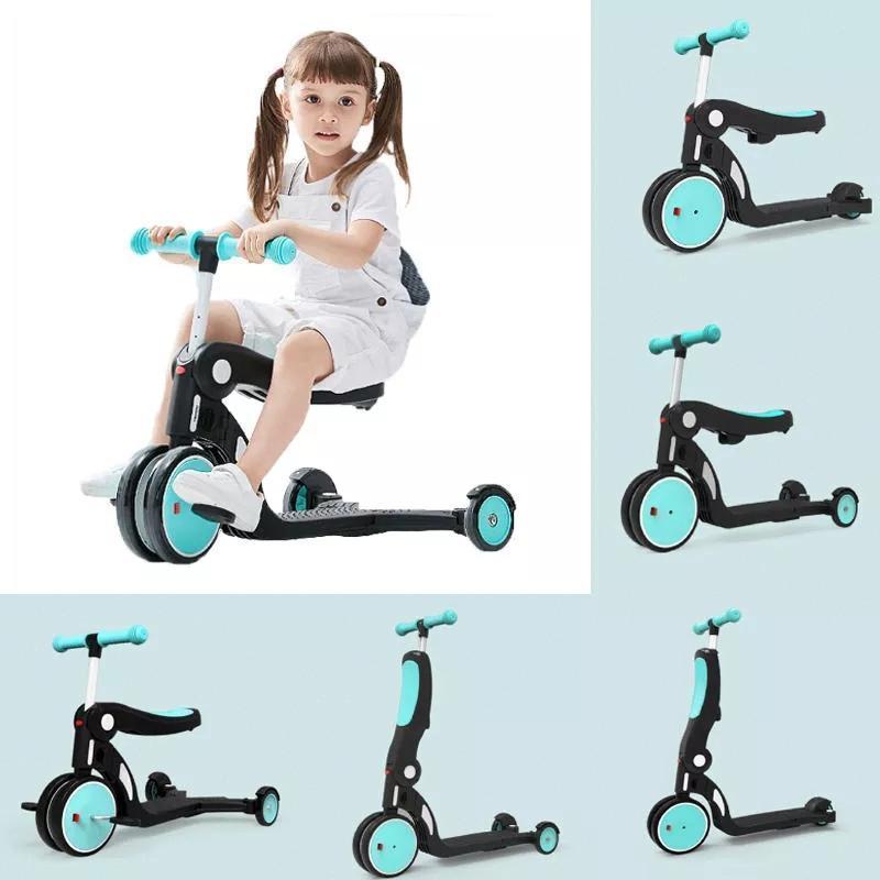 2020 BEBEHOO 5 in 1 multifunzionale Deformazione Triciclo Kids Scooter Carico massimo 20kg bambini bilanciamento della moto a tre ruote Bike Da Youpi4e4e #