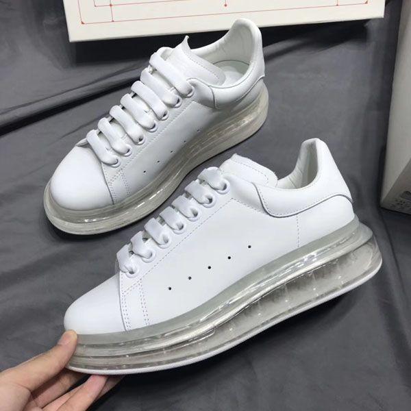 Novo Tamanho Grande US4-US9 Branco e Preto Sapatos de Couro Designer de Sapatos Ás das Mulheres Tamanho Grande Moda Lazer Cadarço Caixa de Poeira saco