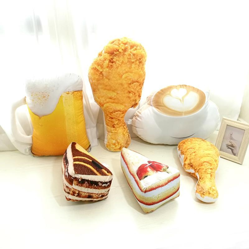Drop shipping Simulation Food Shape Plush Pillow Creative Cake Coffee Beer Plush Toys Stuffed Cushion Home Decor Gifts for Kids