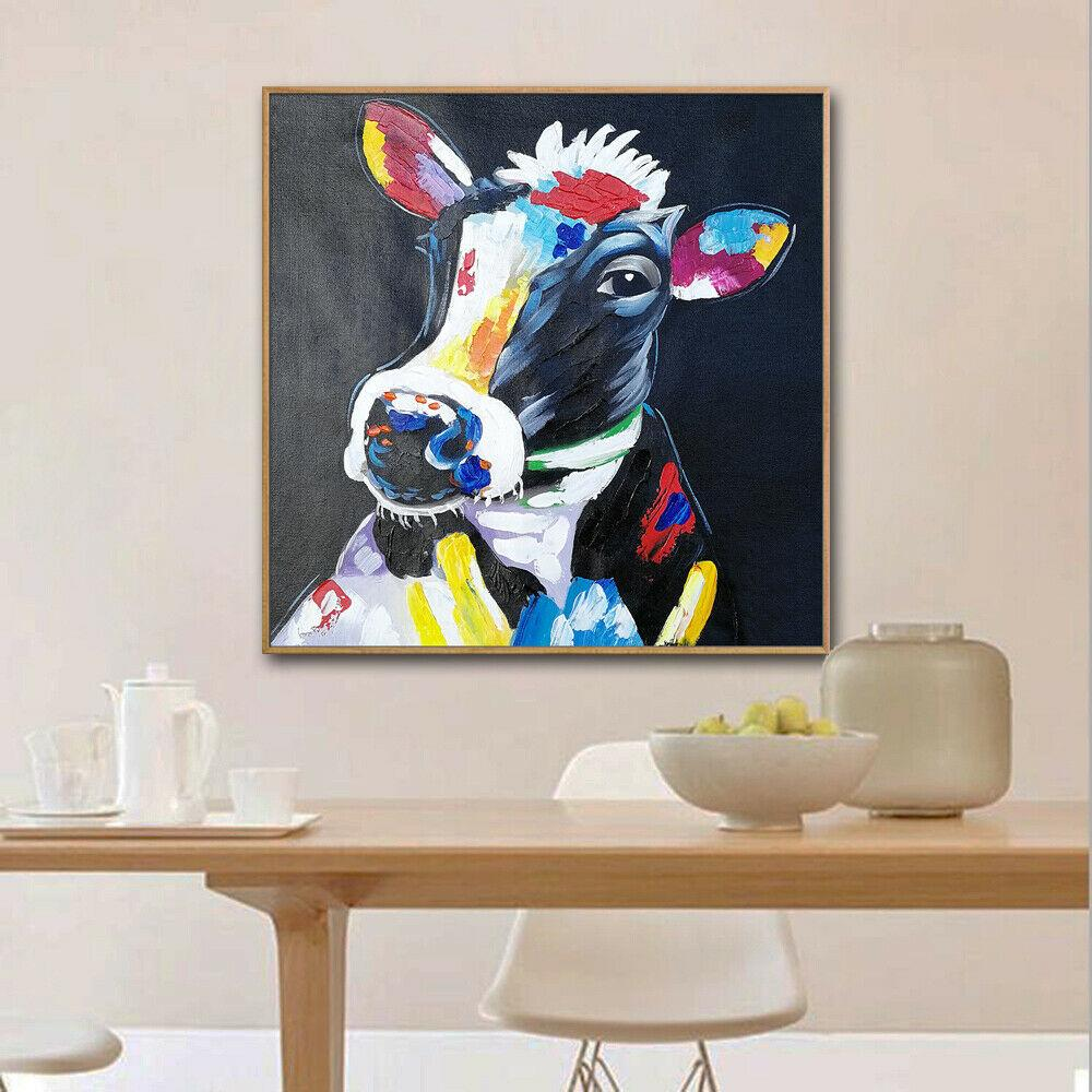 -1-0047# Framed & Unframed Mintura Colorful Cow Animal Home Decor Handcrafts /HD Print Oil Painting On Canvas Wall Art Canvas Pictures