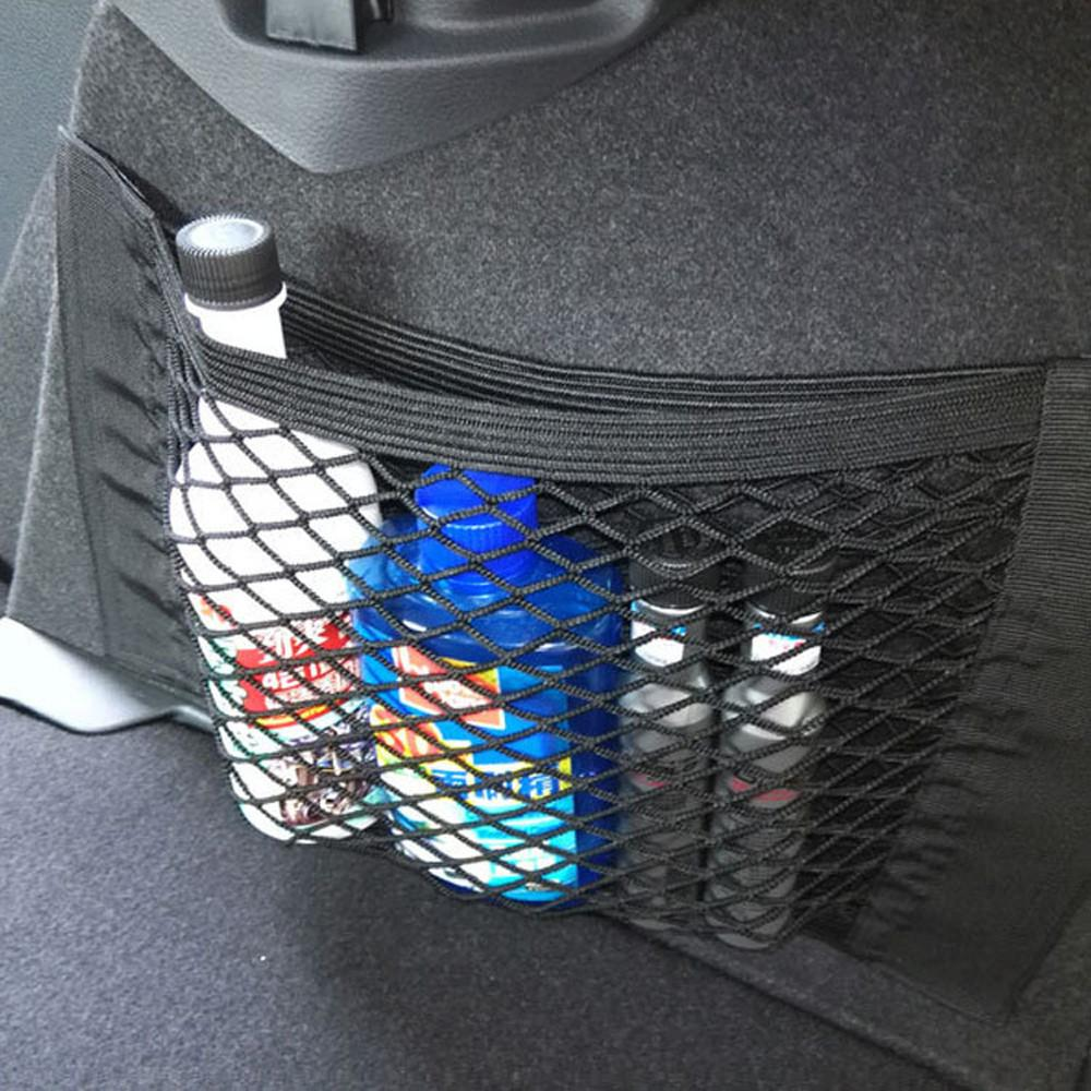 accesorios del coche maletero del coche del asiento trasero secuencia elástico de almacenamiento de la bolsa de malla red de equipaje titular de bolsillo etiqueta del tronco Organizador Ca volver bolsa