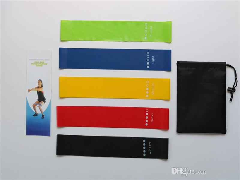 5pcs / lot della fascia di resistenza di forma fisica lattice Palestra Forza di formazione gomma Loop Bands fitness attrezzature sportive Giocattoli cinghia di yoga