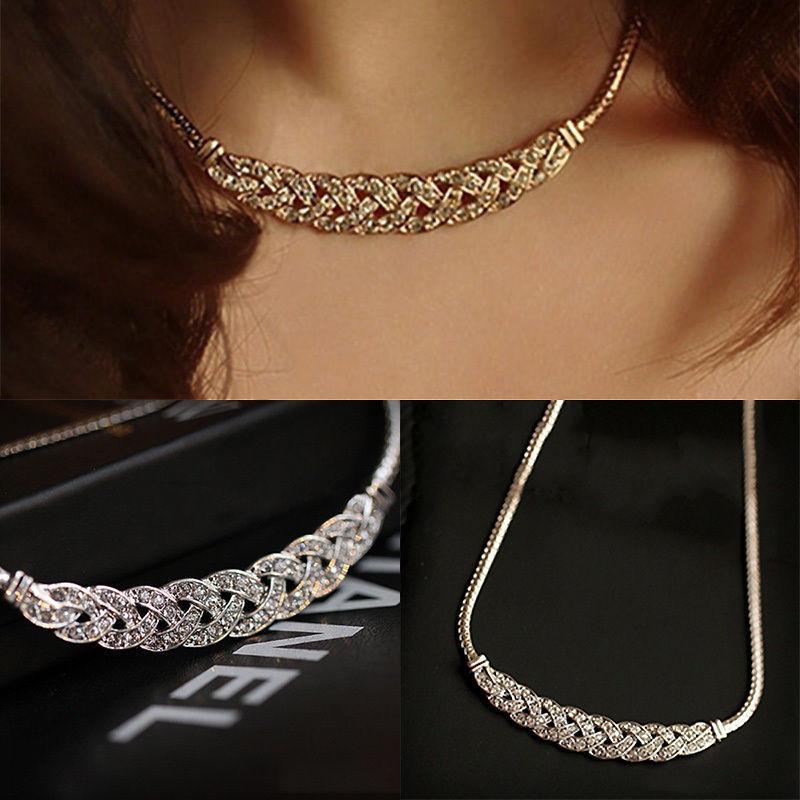 Charm Rhinestone Crystal Chunky Statement Bib Pendant Chain Choker Necklace ZN