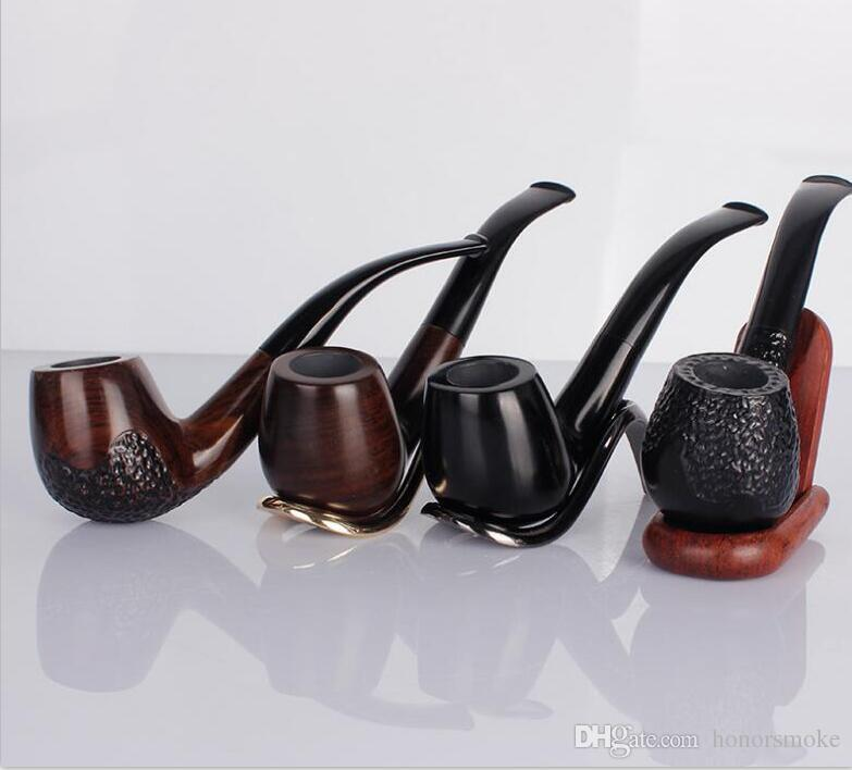 Black and Ebony Durable Wooden Wood Smoking Pipes Hand Cigarette Holder Pipes 4 styles for Tobacco Cigar Tools Accessories high quality