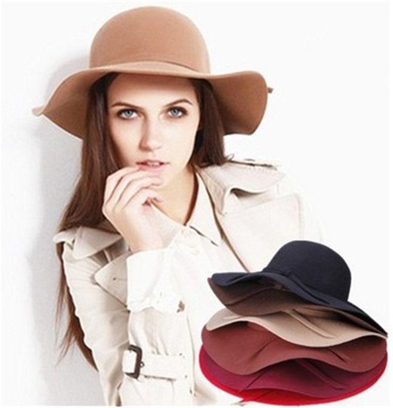 Kadın Yün Ilmek Fascinator Bant Retro Disket Şapka Geniş Ağız Ezilebilir Serisi Moda Lady Yaz Plaj Fötr Kapaklar Hissettim