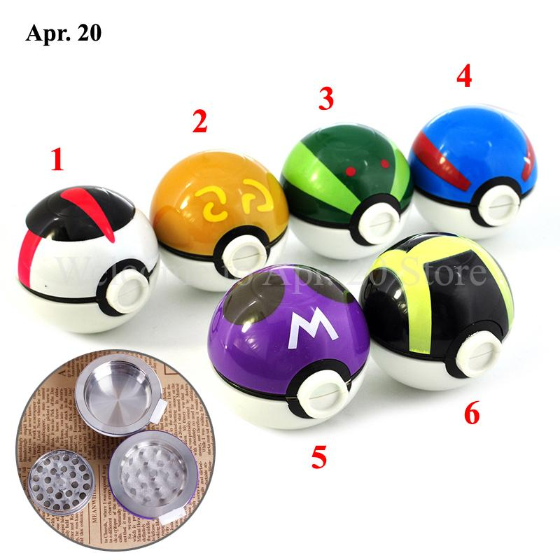 Newly 3-Layers 55mm Zinc Alloy ELF Ball Herb Grinder Colored Tobacco Herb Crusher Pokeman Grinder GR019