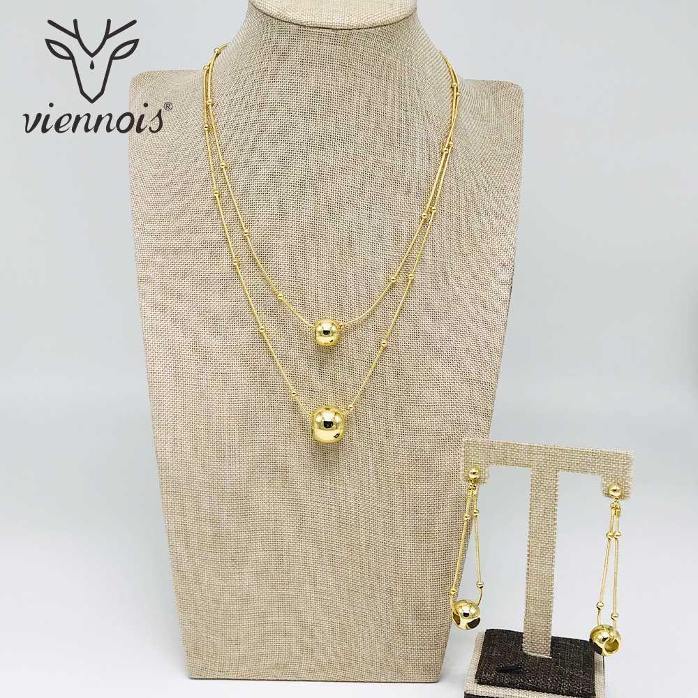 Toptan Gümüş / Altın Renk Damla Küpe Çift Kolye Takı Seti Kadınlar Takı Setleri için Yeni