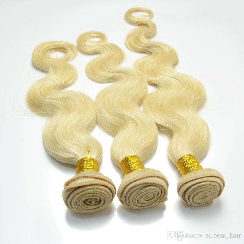 Reines # 613 Blonde Menschliches Haar Bundle 3Pcs Lot Bodystraight Welle Bleach Blonde brasilianischen Jungfrau-Haar-Verlängerungen Weaves Doppel Tressen, freier DHL